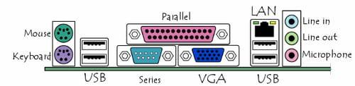 Konektor pada panel belakang